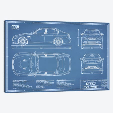 BMW M3 (E90) Blueprint Canvas Print #ABP16} by Action Blueprints Canvas Artwork