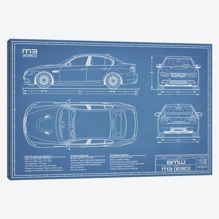 BMW M3 (E90) Blueprint Canvas Print #ABP16} by Action Blueprints Canvas Artwork