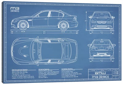 BMW M3 (E90) Blueprint Canvas Art Print