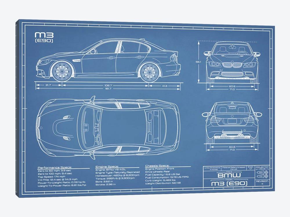 BMW M3 (E90) Blueprint by Action Blueprints 1-piece Canvas Wall Art