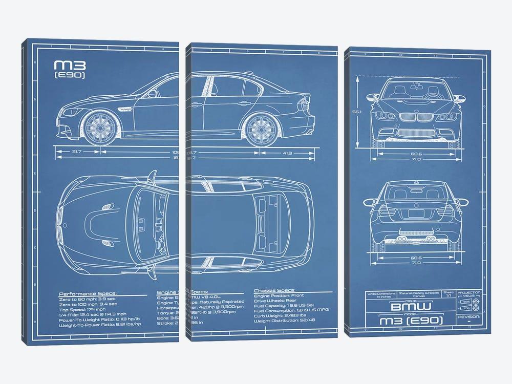 BMW M3 (E90) Blueprint by Action Blueprints 3-piece Canvas Artwork