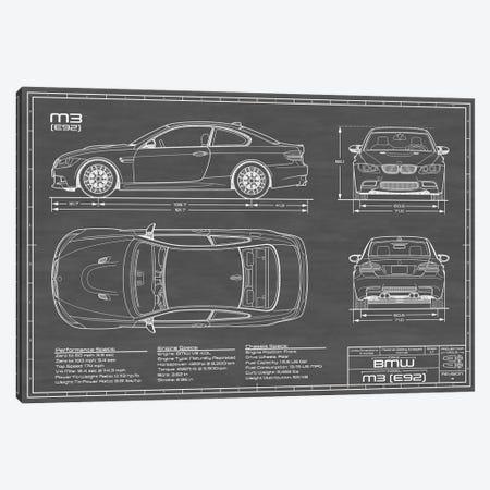BMW M3 (E92) Black Canvas Print #ABP17} by Action Blueprints Canvas Art