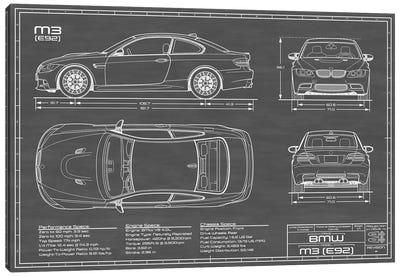 BMW M3 (E92) Black Canvas Art Print