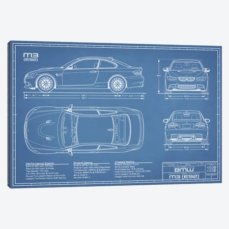 BMW M3 (E92) Blueprint Canvas Print #ABP18} by Action Blueprints Art Print