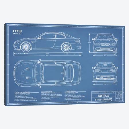 BMW M3 (E92) Blueprint Canvas Print #ABP18} by Action Blueprints Art Print