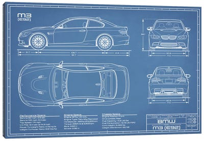 BMW M3 (E92) Blueprint Canvas Art Print
