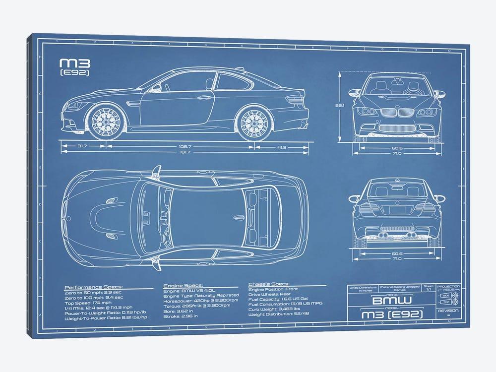 BMW M3 (E92) Blueprint by Action Blueprints 1-piece Canvas Art