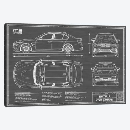 BMW M3 (F80) Black Canvas Print #ABP19} by Action Blueprints Canvas Art Print