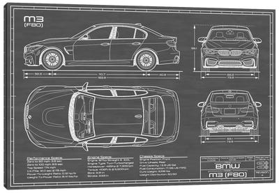 BMW M3 (F80) Black Canvas Art Print