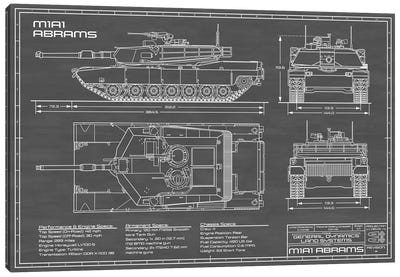 1980 M1A1 Abrams Battle Tank | Black Canvas Art Print