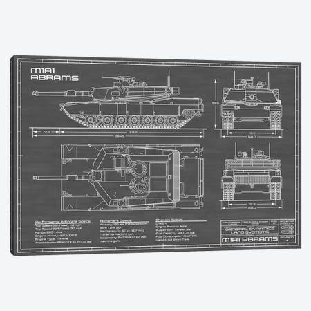 1980 M1A1 Abrams Battle Tank | Black Canvas Print #ABP1} by Action Blueprints Canvas Art Print