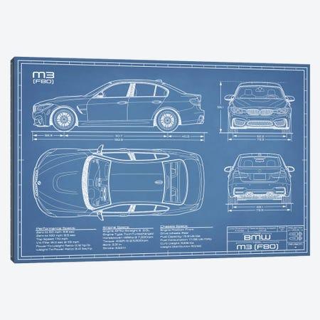 BMW M3 (F80) Blueprint Canvas Print #ABP20} by Action Blueprints Canvas Wall Art