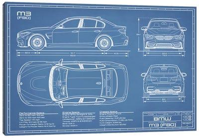 BMW M3 (F80) Blueprint Canvas Art Print