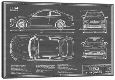 BMW M4 (F82) Black Canvas Art Print