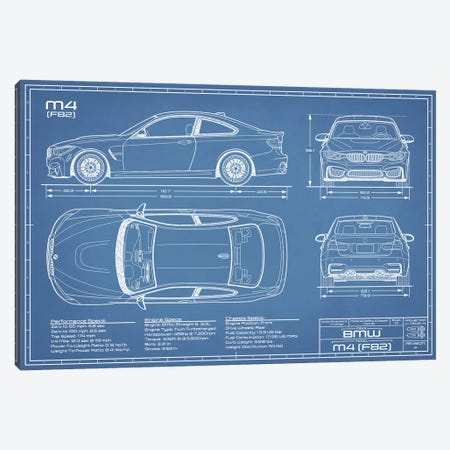 BMW M4 (F82) Blueprint Canvas Print #ABP22} by Action Blueprints Canvas Art