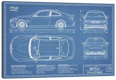 BMW M4 (F82) Blueprint Canvas Art Print
