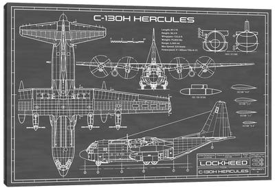 C-130 Hercules Airplane | Black Canvas Art Print