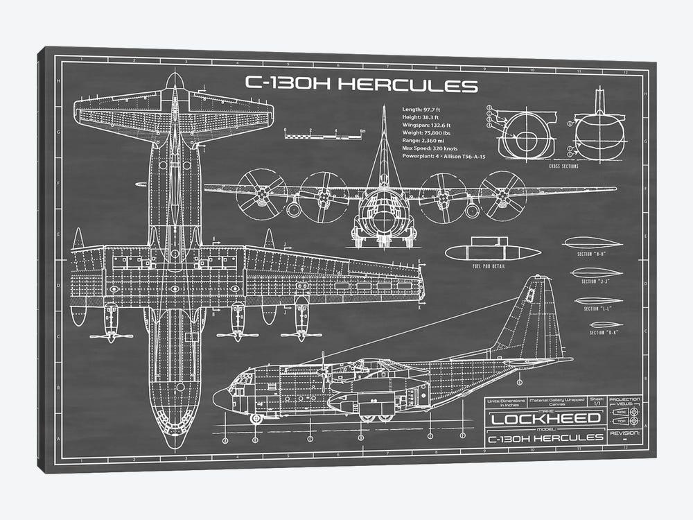 C-130 Hercules Airplane | Black by Action Blueprints 1-piece Canvas Artwork