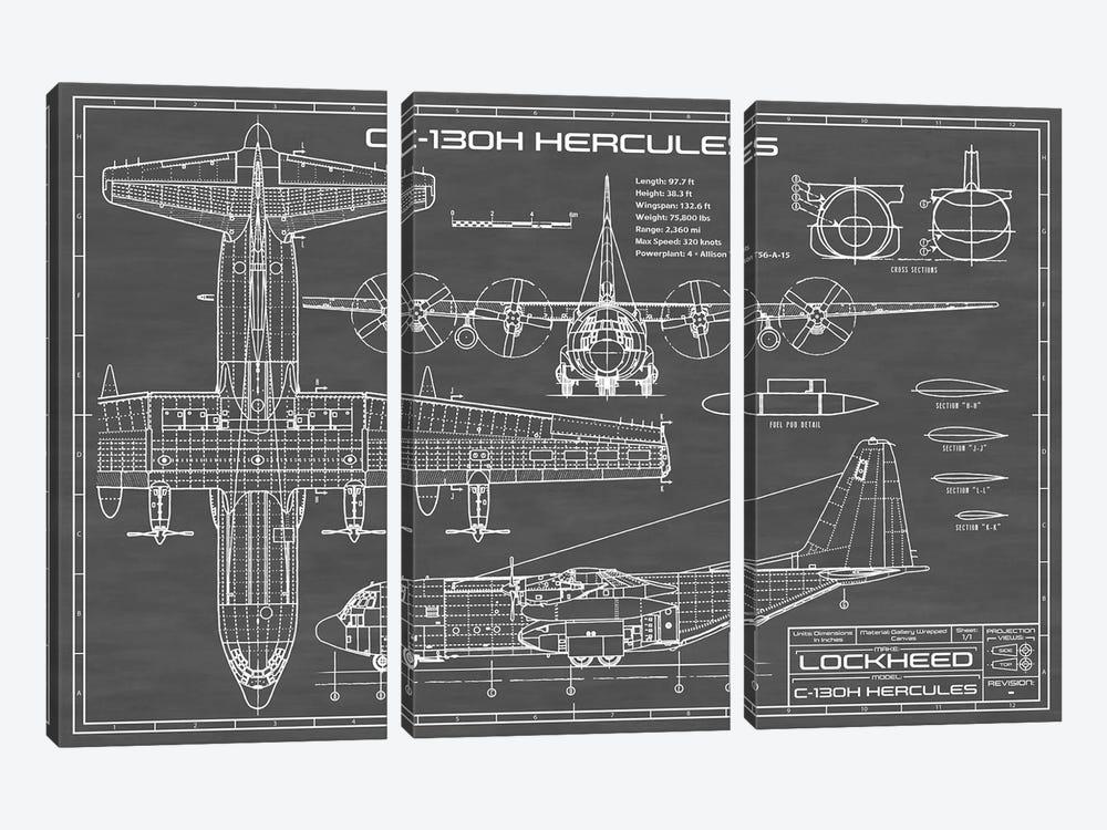 C-130 Hercules Airplane | Black by Action Blueprints 3-piece Canvas Art