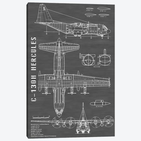 C-130 Hercules Airplane | Black - Portrait Canvas Print #ABP24} by Action Blueprints Canvas Art Print