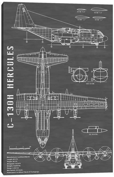 C-130 Hercules Airplane | Black - Portrait Canvas Art Print