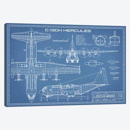 C-130 Hercules Airplane Blueprint Canvas Print #ABP25} by Action Blueprints Canvas Print