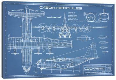 C-130 Hercules Airplane Blueprint Canvas Art Print