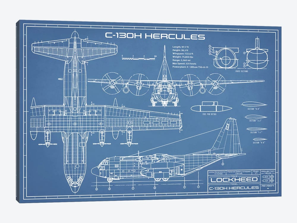 c130 hercules airplane blueprint canvas a  action