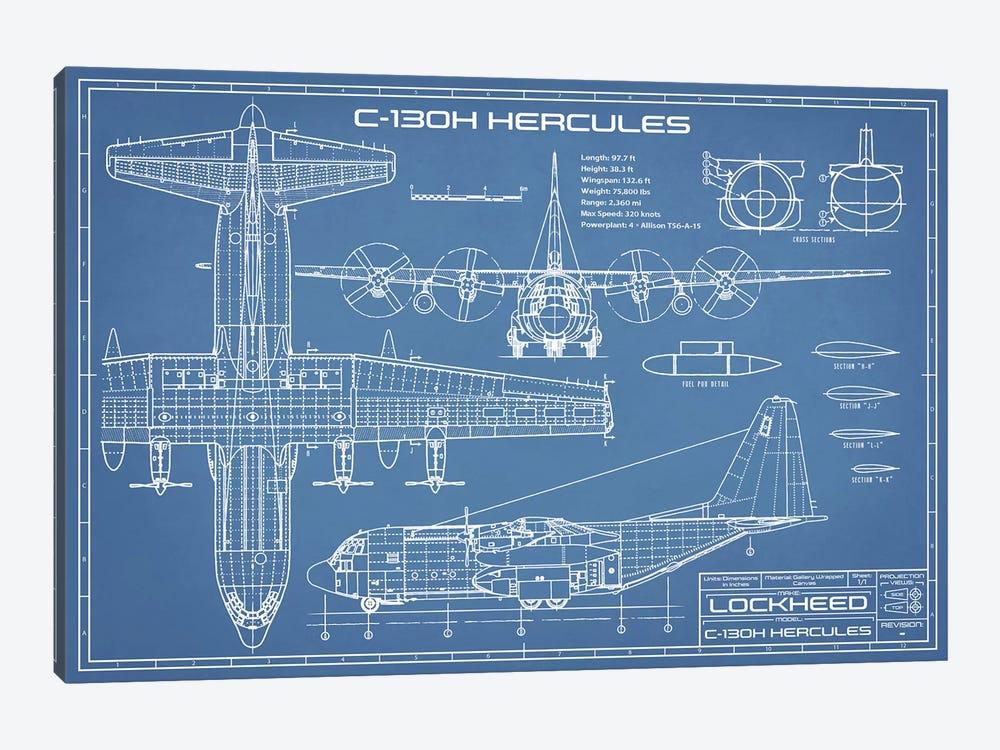 C-130 Hercules Airplane Blueprint by Action Blueprints 1-piece Canvas Artwork