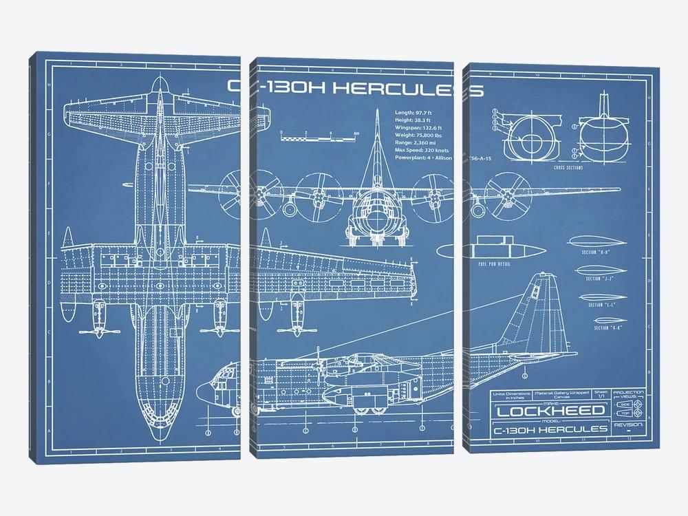 C-130 Hercules Airplane Blueprint by Action Blueprints 3-piece Canvas Artwork