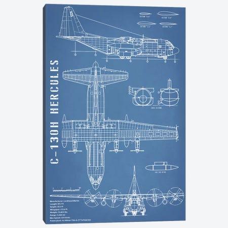 C-130 Hercules Airplane Blueprint - Portrait Canvas Print #ABP26} by Action Blueprints Art Print