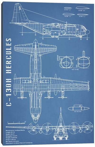 C-130 Hercules Airplane Blueprint - Portrait Canvas Art Print