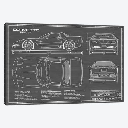 Corvette (C5) Z06 Black Canvas Print #ABP27} by Action Blueprints Canvas Art Print