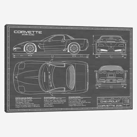 Corvette (C5) Z06 Black Canvas Print #ABP27} by Action Blueprints Canvas Art Print