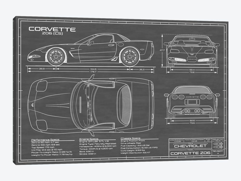 Corvette (C5) Z06 Black by Action Blueprints 1-piece Canvas Wall Art