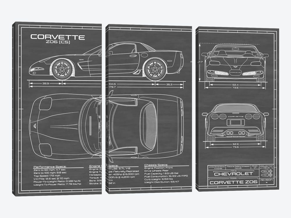 Corvette (C5) Z06 Black by Action Blueprints 3-piece Canvas Artwork