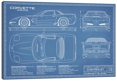 Corvette (C5) Z06 Blueprint Canvas Art Print
