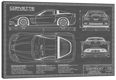 Corvette (C6) Grand Sport Black Canvas Art Print