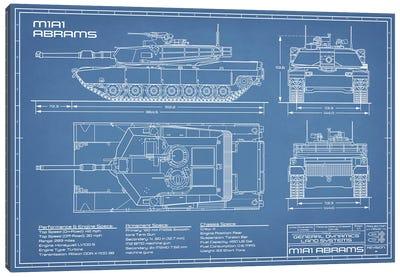 1980 M1A1 Abrams Battle Tank Blueprint Canvas Art Print