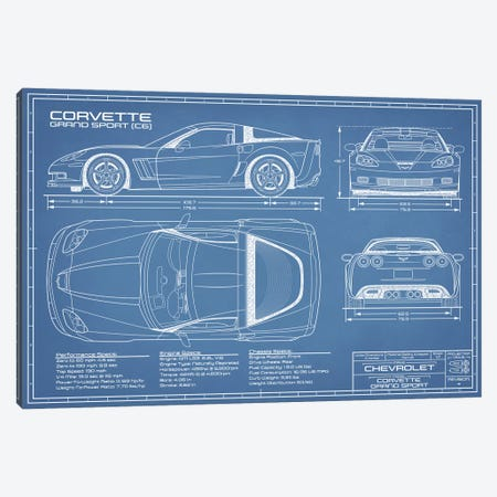 Corvette (C6) Grand Sport Blueprint Canvas Print #ABP30} by Action Blueprints Canvas Print