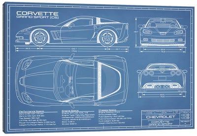 Corvette (C6) Grand Sport Blueprint Canvas Art Print
