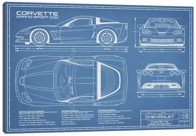 Corvette (C6) Grand Sport Blueprint Canvas Art Print