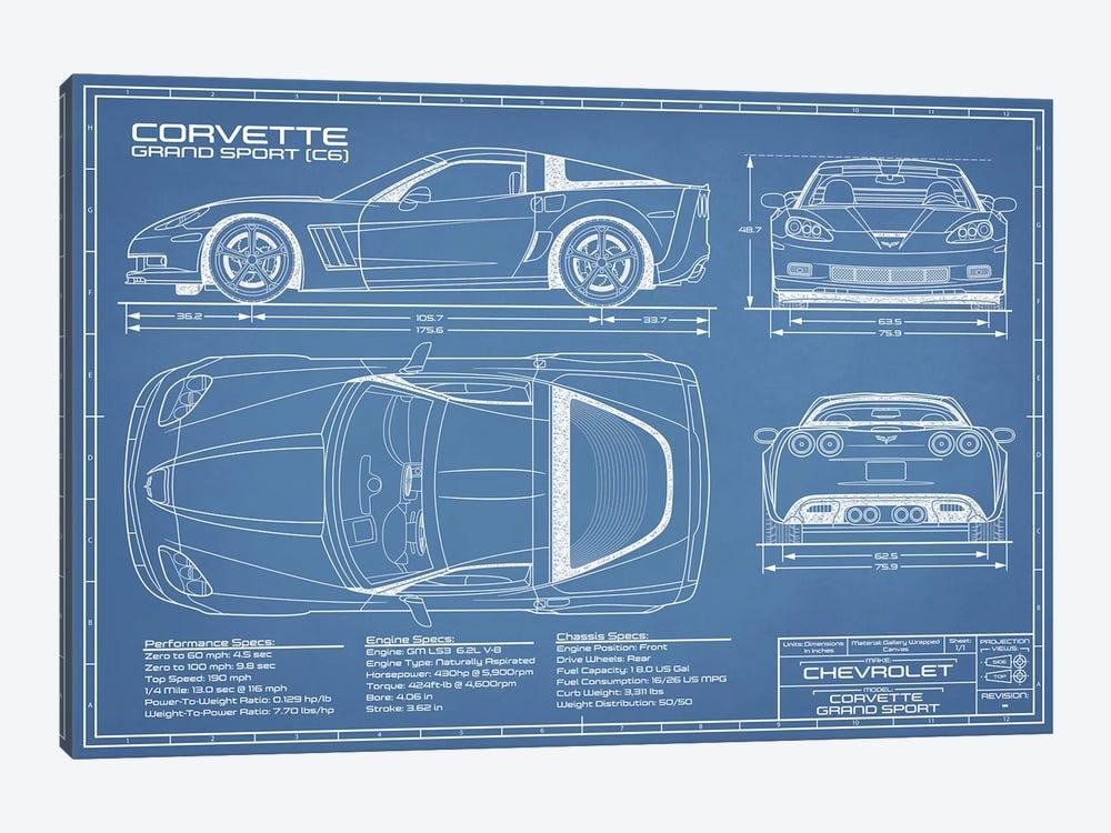 Corvette (C6) Grand Sport Blueprint by Action Blueprints 1-piece Canvas Art