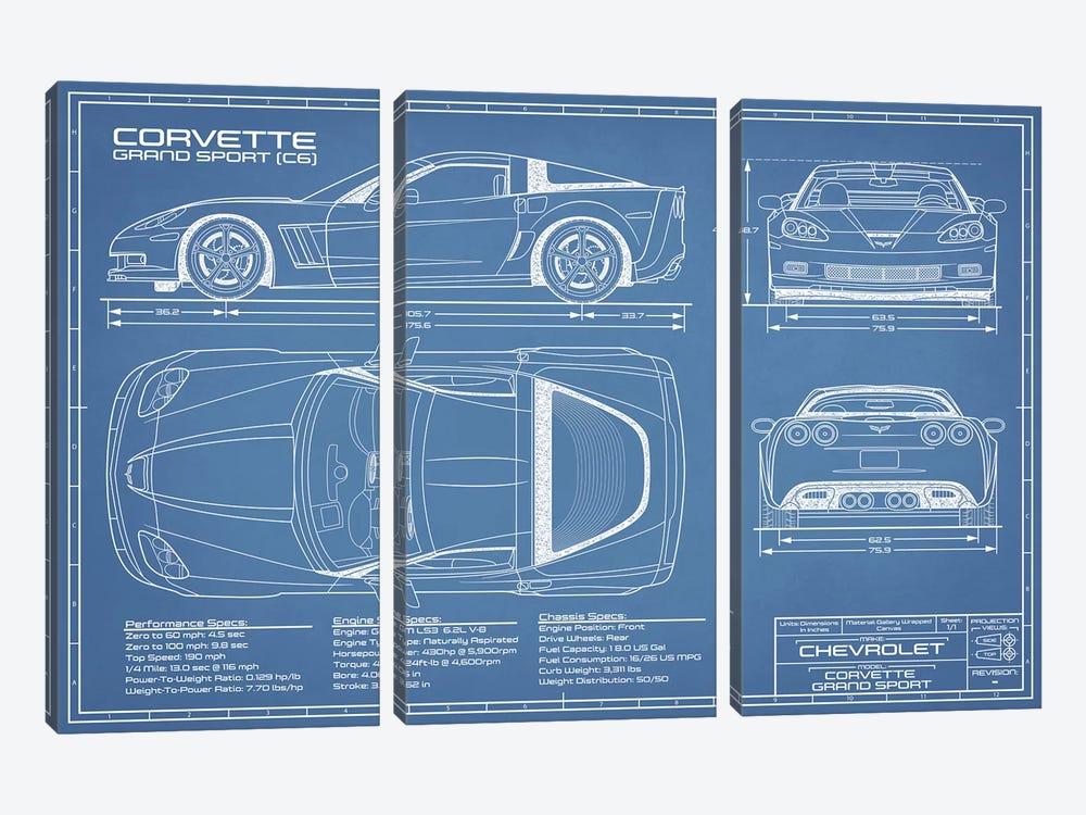 Corvette (C6) Grand Sport Blueprint by Action Blueprints 3-piece Canvas Art