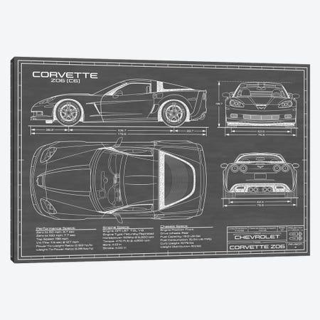 Corvette (C6) Z06 Black Canvas Print #ABP31} by Action Blueprints Canvas Art Print