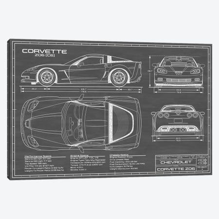 Corvette (C6) Z06 Black Canvas Print #ABP31} by Action Blueprints Canvas Art Print