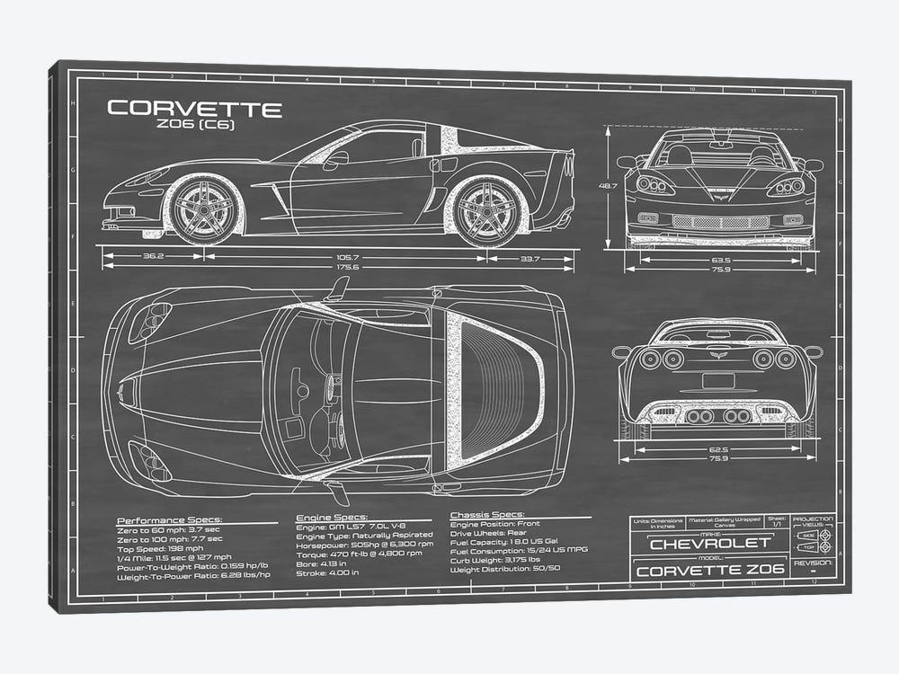 Corvette (C6) Z06 Black by Action Blueprints 1-piece Canvas Art Print