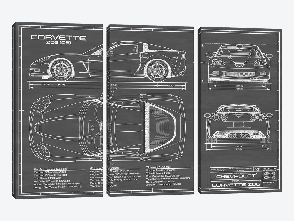 Corvette (C6) Z06 Black by Action Blueprints 3-piece Canvas Art Print