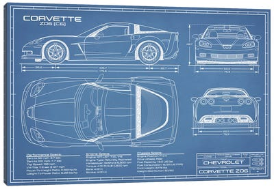 Corvette (C6) Z06 Blueprint Canvas Art Print