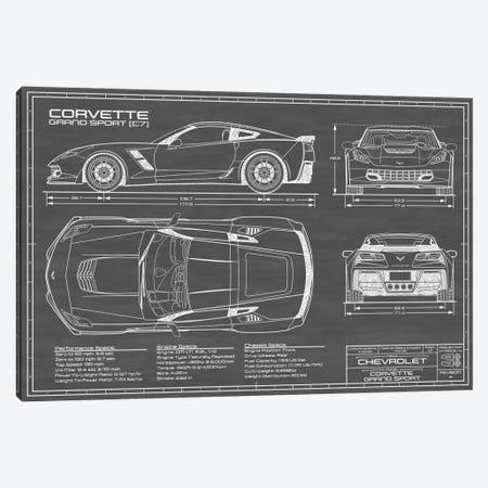 Corvette (C7) Grand Sport Black Canvas Print #ABP33} by Action Blueprints Canvas Art Print